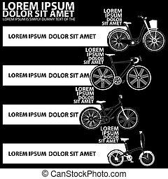 iconos, bicicleta, raya, blanco