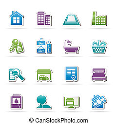 iconos, bienes raíces, objetos