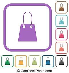 iconos, bolsa, simple, compras