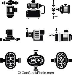 iconos, bomba de agua, vector, negro, conjuntos