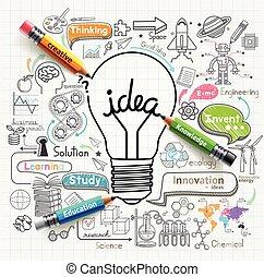 iconos, bombilla, set., ideas, doodles, concepto