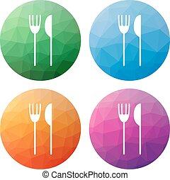 iconos, botones, cuchillo, moderno, bajo, aislado, -, 4, ...