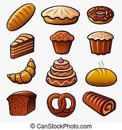 iconos, bread, panadería