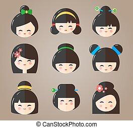 iconos, Cabezas, japonés,  kokeshi,  vector, Muñecas