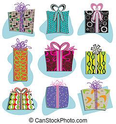 iconos, cajas, regalo, retro