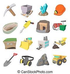 iconos, caricatura, conjunto, minería