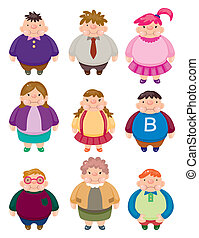 iconos, caricatura, grasa, gente