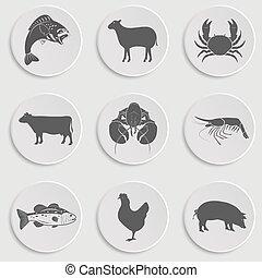 iconos, carne, mariscos, -animal, conjunto