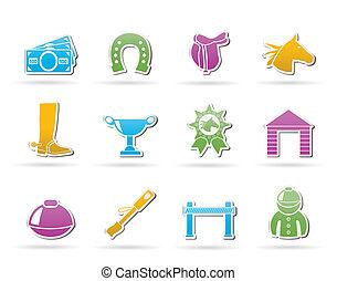 iconos, carreras, caballo, juego