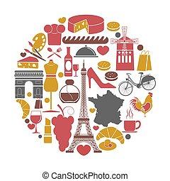 iconos, cartel, viaje, francia, vector, señales, turismo