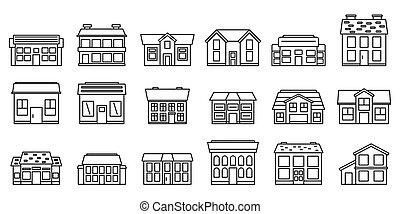 iconos, casa, conjunto, contorno, estilo, cabaña