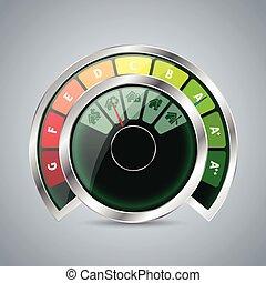 iconos, casa, energía, calibrador, doble, clase