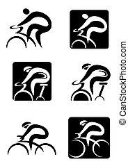 iconos, ciclismo, girar