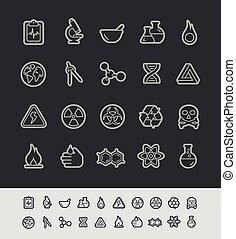 iconos, --, ciencia, negro, serie, línea