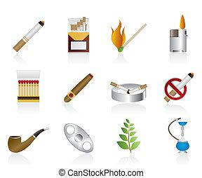 iconos, cigarrillo humeante
