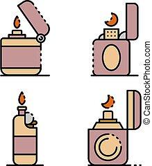 iconos, cigarrillo, línea, conjunto, color, encendedor, vector