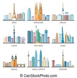 iconos, ciudades, contornos, conjunto