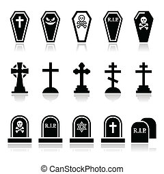 iconos, co, -, conjunto, halloween, cementerio
