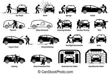 iconos, coche, profesional, set., detailer, automóvil