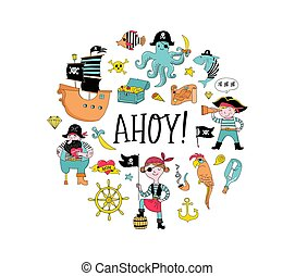 iconos, colección, mano, caracteres, dibujado, pirata