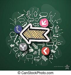 iconos, collage, pizarra, flechas, discurso, burbujas
