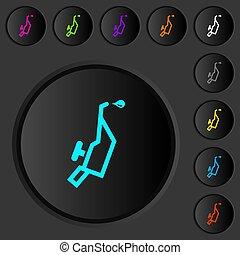 iconos, color, empujón, oscuridad, botones, engrasador