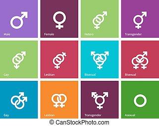 iconos, color, identidades, fondo., género