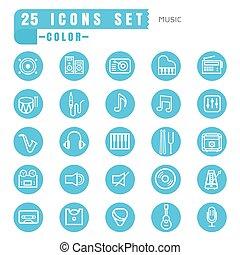 iconos, color música, delgado, blanco, en, el, círculo, azul, blanco, plano de fondo