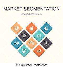 iconos, color, segmento, segmentation, benchmarking, 10, ...