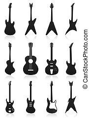 iconos, colour., ilustración, vector, negro, guitarras
