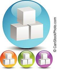 iconos, con, estructura, de, 3d, gris, cubes., tres, colores, included., iconos, con, estructura, de, 3d, gris, cubes., tres, colores, included.