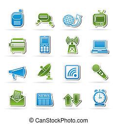 iconos, conexión, comunicación