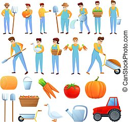 iconos, conjunto, agronomist, caricatura, estilo
