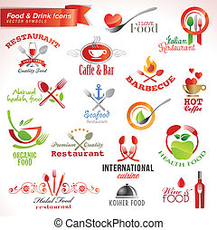 iconos, conjunto, alimento, bebida
