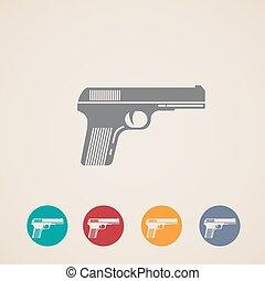 iconos, conjunto, arma de fuego