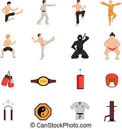 iconos, conjunto, artes, marcial