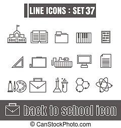 iconos, conjunto, back to la escuela, línea, negro, moderno, estilo, diseñe elementos, geometría, derecho, líneas, curvas, vector, blanco, plano de fondo