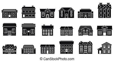 iconos, conjunto, cabaña, estilo, ciudad, simple