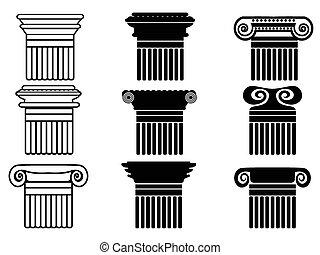iconos, conjunto, columna