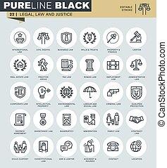 iconos, conjunto, de, legal, ley, y, justicia