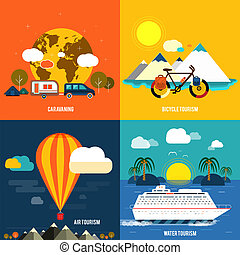 iconos, conjunto, de, viajar, y, planificación, un,...