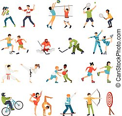 iconos, conjunto, deporte, niños