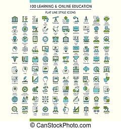 iconos, conjunto, educación, grande