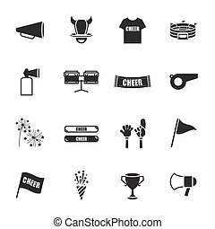iconos, conjunto, equipo de deportes, aclamación