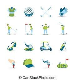 iconos, conjunto, golf