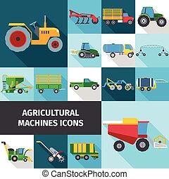 iconos, conjunto, industria, agrícola