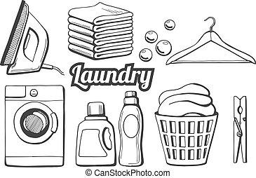 iconos, conjunto, lavadero