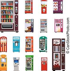 iconos, conjunto, máquinas de venta