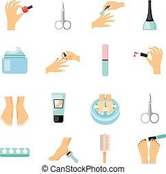 iconos, conjunto, manicura, plano, pedicura