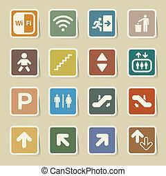 iconos, conjunto, público